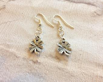 4 Leaf Clover Earrings, Lucky Charm Earrings, Shamrock Jewellery, Silver Earrings, St Patricks Day, Clover Earrings, Good Luck Charm.