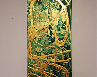 3d Abstract Textured Painting - 12x36 inch - Green and Gold