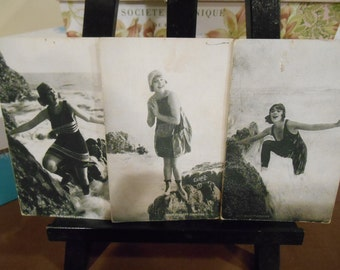 1920s Bathing Beauties 3 Vintage Antique Exhibit Cards Arcade Cards - Slightly Risque