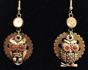 Steampunk owl earrings
