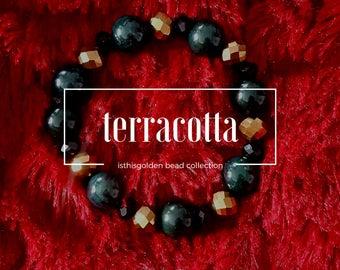 Terracotta - Black Green and Gold Beaded Bracelet
