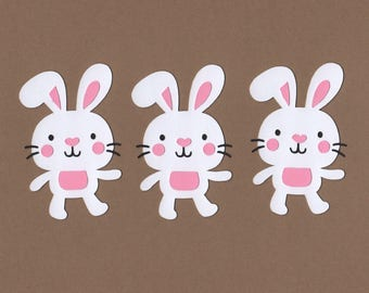 21 White Bunny Die Cut Embellishments