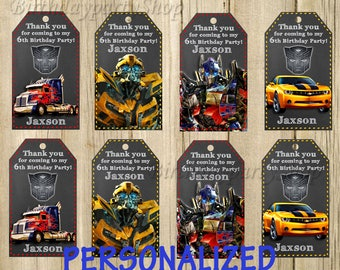 Transformers Favor Tag , Transformers Thank You Tags, PERSONALIZED, Digital File