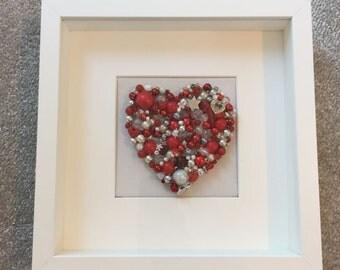 Beaded jewelled canvas heart...handmade gift...One of a kind