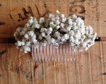 Dried Gypsophila Baby's Breath Ladies Hair Comb Slide Flowers Wedding Rustic Boho