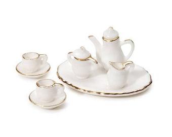 Miniature White Ceramic Tea Set