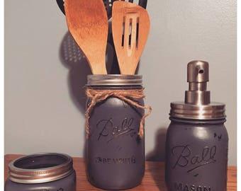 Mason Jar Decor, Mason Jar Kitchen Set, Three Piece Kitchen Set, Jar Kitchen Set