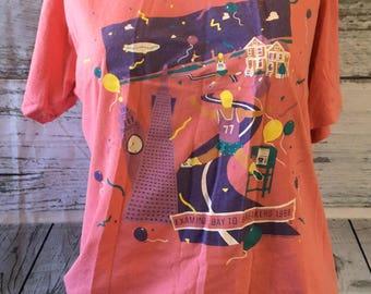 Vtg 1988 Examiners Bay to Breakers San Francisco T-Shirt coral painted ladies XL Coit Tower *Runs Small