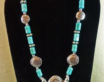 Turquoise Magnesite and Sterling War Shield Beads Necklace & Earrings