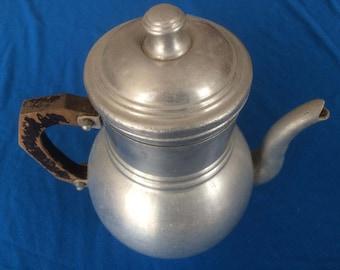 French vintage aluminium coffee pot