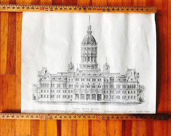 Hartford Connecticut State Capital Signed Architectural Drawing