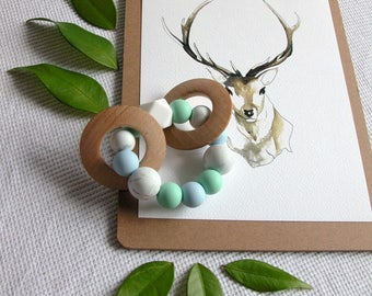 Pebbles - Silicone and Wood Baby Teether