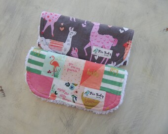 Baby girl burp cloths, Llamas burp cloths, Flamingo burp cloths, Modern Burp Cloths, Baby girl gift, Baby shower gift