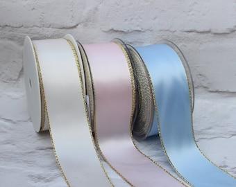 1 Meter 38mm Ribbon, Gold Trim Ribbon, Cake Ribbon, Birthday Ribbon, Wedding Ribbon, Anniversay Ribbon, Wedding Decor, Party Decor,