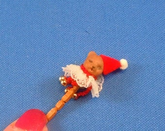 Dollhouse Miniature Accessory; Bear on a stick for dollhouse scale of 1:12; twelfth scale.   Item #D245.