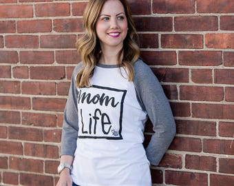Mom Life. Baseball Tee. Women's Graphic Tee. Inspirational Tees. Grey and White. Positive Shirts. Mothers Day.