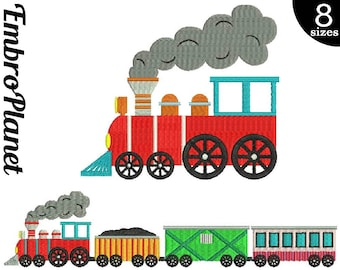 Train - Designs for Embroidery Machine Instant Download Digital File Graphic Stitch 4x4 5x7 inch hoop train wagon travel cute colorful 593e