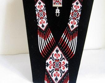 beaded set of jewelry/ red Gerdan/beaded jewelry/Ukrainian jewelry/ beaded bracelet/ beaded necklace/Ukrainian gerdan/long necklace