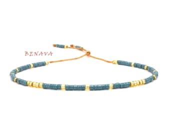 BOHO bracelet Friendship Bracelet blue gold