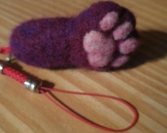 Handmade felted cat paw phone charm