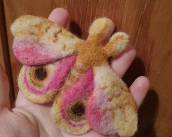 Fluffy felted io moth brooch