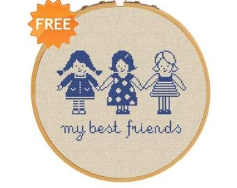 FREE cross stitch pattern friends baby hand embroidery deisgn girls stitching pattern needlepoint kit for beginners nursery decor needlework