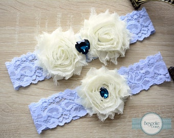Lace Garter, Blue Bridal Garter, Blue Garter Set, Bridal Garters, Bridal Garter Set, Light Blue Garters, Ivory Garter, Ivory Bridal Garter