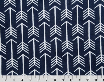 Shannon Minky Fabric, Premier Archer Cuddle Fabric, Arrow Minky Fabric, Navy and White Arrow Minky Fabric, Fabric By The Yard
