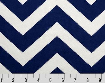 Shannon Minky Fabric, Navy Ivory Chevron Cuddle Minky, Shannon Cuddle Minky Fabric, Chevron Fabric, Navy Chevron Minky, Minky By The Yard