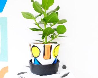 Indoor Planter Plant Pot Painted Terracotta Clay Pot 'I Go To Sleep' Medium 13cm