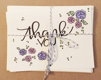 Thank You cards - blank inside - Set of 5 with envelopes