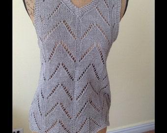 HANDMADE. Gorgeous crochet organic linen top/vest *S/M