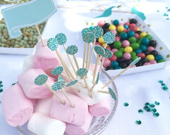 lot of 20 decorated appetizer picks, cocktail, toothpick blue and pink accessory, babyshower