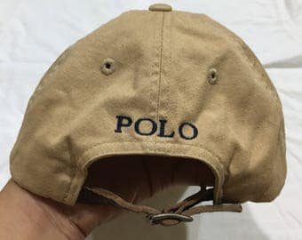 Rare!!! Vintage Polo by Ralph Lauren Cap Polo Hat Cap Leather Adjustable Spellout Small Pony Embroidery Strap