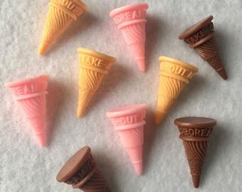 9pc mini ice cream cones small Neapolitan ice cream cones ice cream cabochons kawaii cabochons miniature ice cream CA042