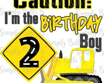 Construction Second Birthday INSTANT DOWNLOAD Printable Digital Iron-On Transfer Design - DIY