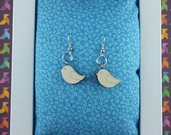 Sparrow wooden earrings - Lasercut
