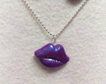 Lips necklace set, mouth jewelry set, lip pendant,lips earrings set.