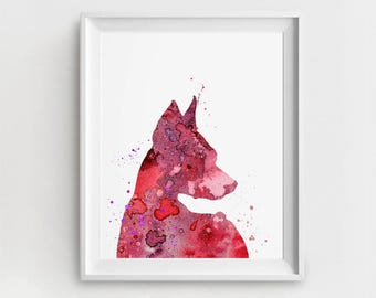 Doberman Art Print, Printable Doberman, Digital Doberman Art, Doberman Painting, Magenta Purple, DIY Wall Art, Watercolor Art, Doberman Art