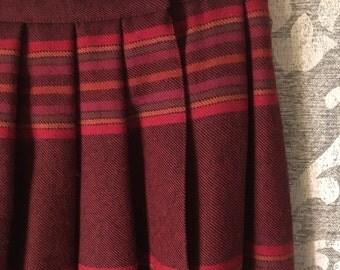 70's Vintage Skirts-Vintage Skirt-Size 12-Vintage Bottoms-Womens Clothing-Vintage Clothing-Pleated Skirt-Stripe Skirt-Womens Skirts