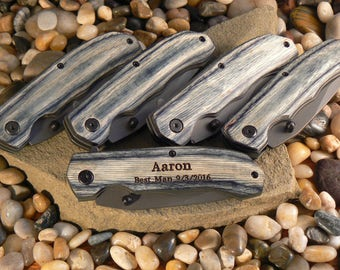 Groomsmen Gifts-- Set of 5 Personalized Flip-Opening Knifes