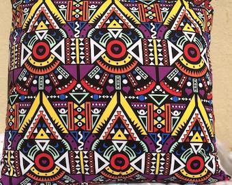 "Handmade Geometric Print Throw Pillow 18"" x 18"""