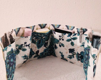 "Purse Organizer Insert / Turquoise ,Blue,Green,Yellow  Floral   23"" Long"