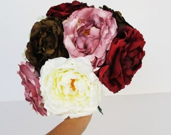 "8 Roses Artificial Silk Flowers Brown Red White Purple Rose measuring 4.5"" Floral Hair Accessories Flower Supplies Faux Fake DIY Wedding"