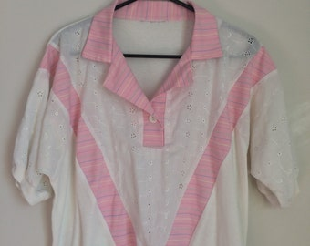 Quirky slouchy tee, polo shirt, 80s, pink stripes, eyelet detail, L, *vintage*