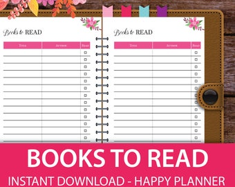 Books to Read, Reading Journal, Book Journal, Reading log, Reading List, Reading Tracker, Reading Planner, Reading Diary, Classic HP