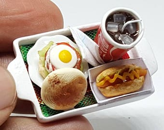 Dollhouse Miniature Hamburger and Hotdog with Coca Cola fast food, 1:12 scale, Handmade craft