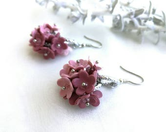 Pretty Floral Earrings Color Pink Pastel with Crystal made of Polymer Clay Beautiful Gift for Women and Girls Flower Earrings