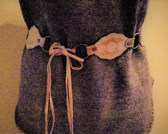 Vintage Leather and Synthetic Leather Concha Belt