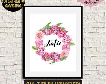 Custom baby name sign Baby name wall art Nursery name print Baby name nursery decor Floral name print Personalized name print Custom name